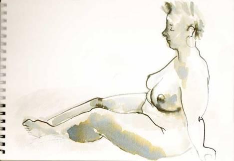 Life model, ink on paper, 2015