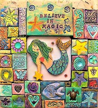 mermaid polymer clay mosaic