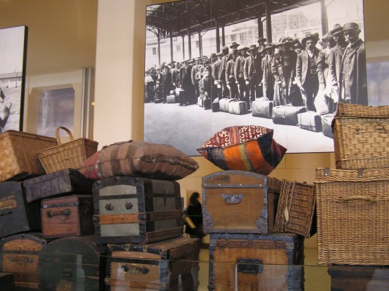 Old luggage stored at the Ellis Island Museum