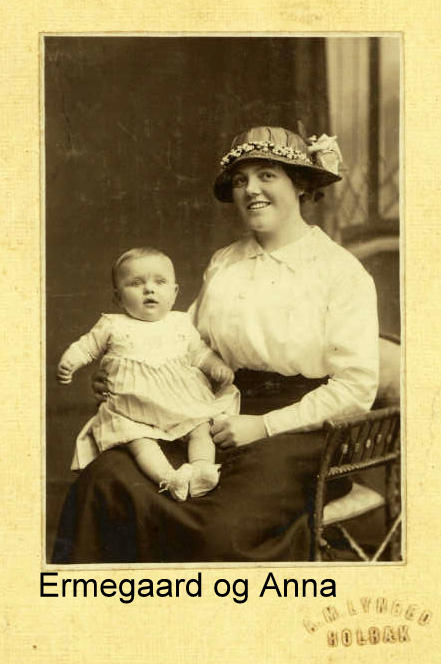 Ermegaard as a baby with Anna who adopted her. Spring 1916
