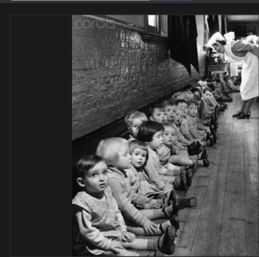 Young war evacuees at a nursery in Middelsex