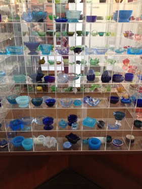 Old glass salt boxes in blue colours