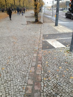 The stones shows where the Berlin Wall used to be
