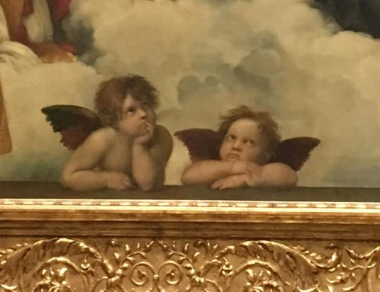 Raffael Detail of The Sistine Madonna c. 1512/13 Old Masters' Picture Gallery in Dresden