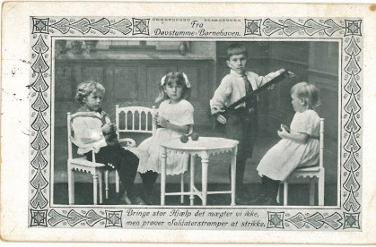 Asta's principal Thea Schroeder's get-well card in May 1915. Deaf and dumb children at their kinder-garden knitting stockings for soldiers