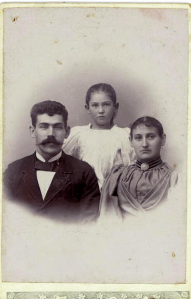 Asta eight years old and her parents William and Laura in 1898