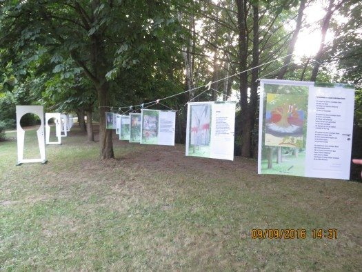 Exhibition of poems and paintings in the park
