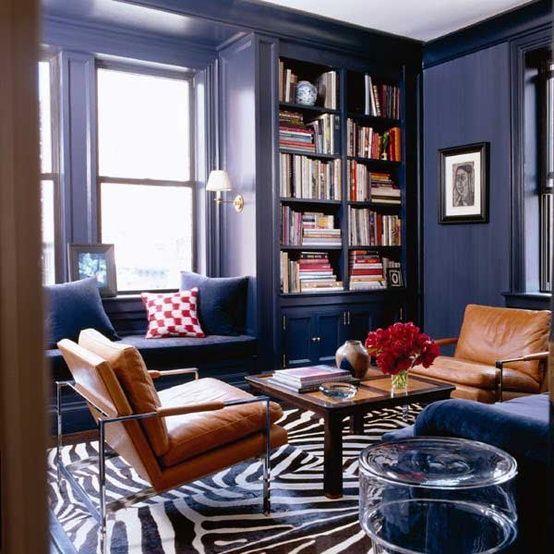 Navy Blue Leather Ottoman