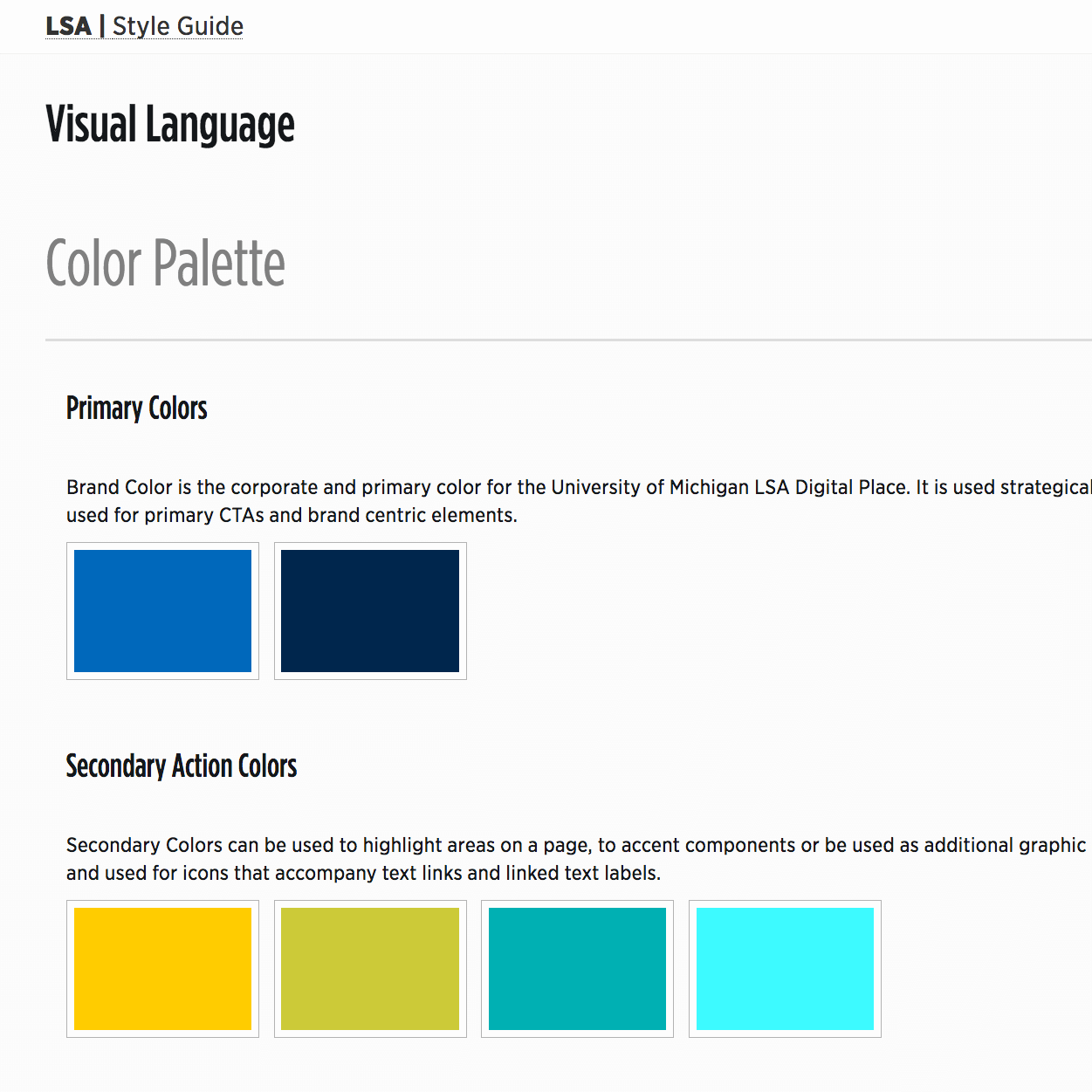 Screenshot of color palette for style guide
