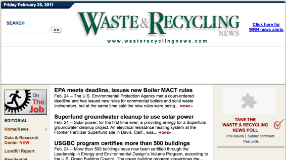 Waste & Recycling News website 2011