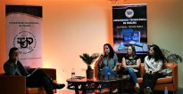El escritor Enrique Jaramillo Levi moderador del evento con las escritoras Carolina Fonseca , Maria Laura De Piano y Nicolle Alzamora Candanedo.