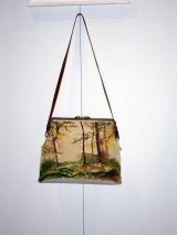 bag creation with embroidered landscape