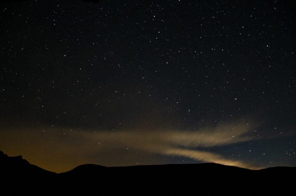 night sky with bright star