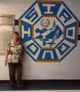 The emblem on the cafeteria wall.
