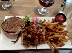 OMG, delicious beef brisket with bbq sauce, pickled red onion, jalapeno dill pickle, fries, and a local dark beer.