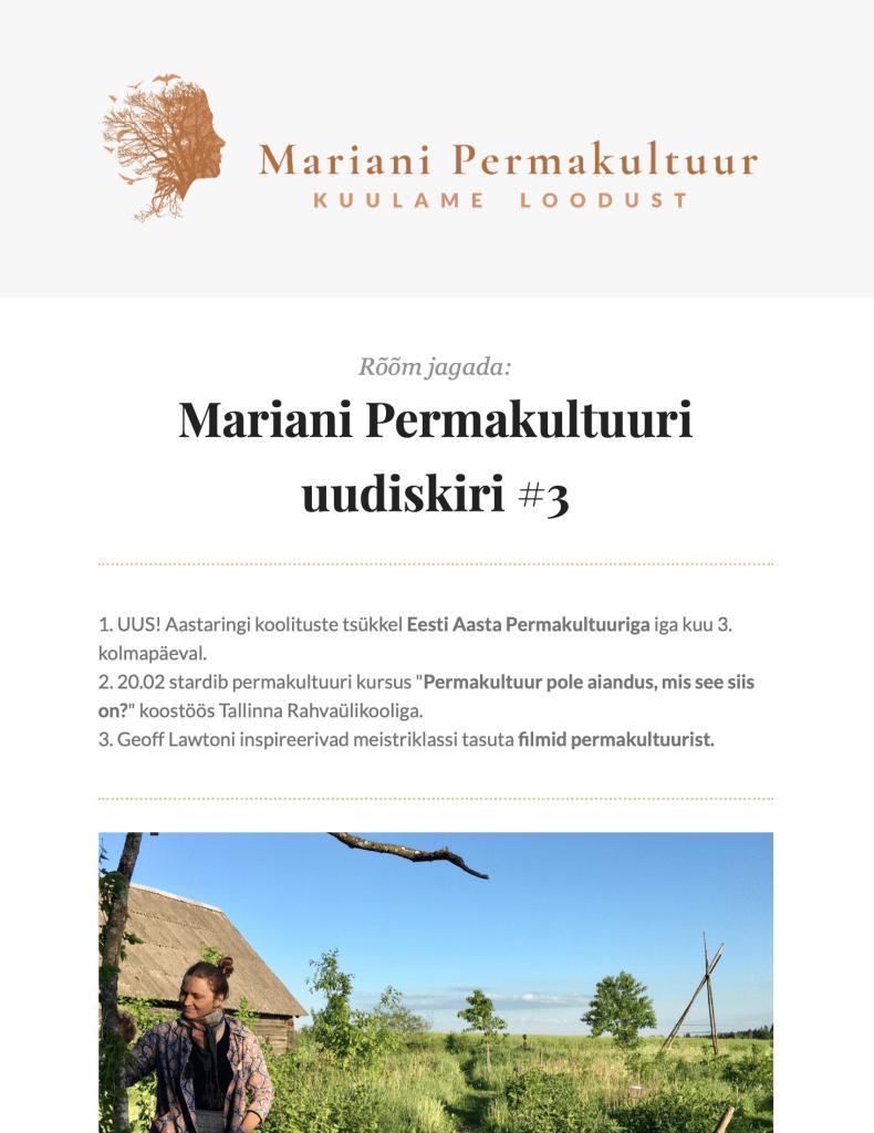 Mariani Permakultuuri uudiskirjad