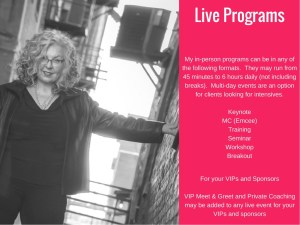 A list of live programs offered by Marian Madonia