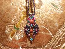Macramé-Cavandoli pendants with semi-precious beads