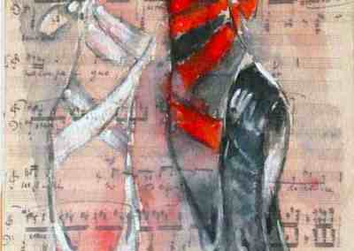 Black&White, Collection: Ballet, Music, watercolor, original greeting card by @ MariAnna MO Warr