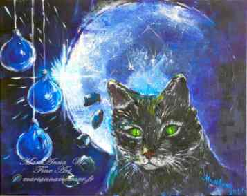 Blues cat, acrylic on black canvas by © MariAnna MO Warr