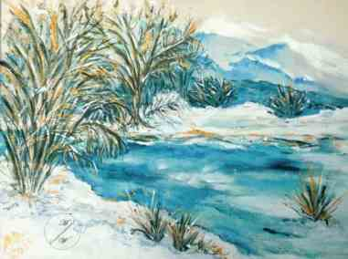 Winter, February, mixed media, watercolor and acrylic on canvas by © MariAnna MO Warr