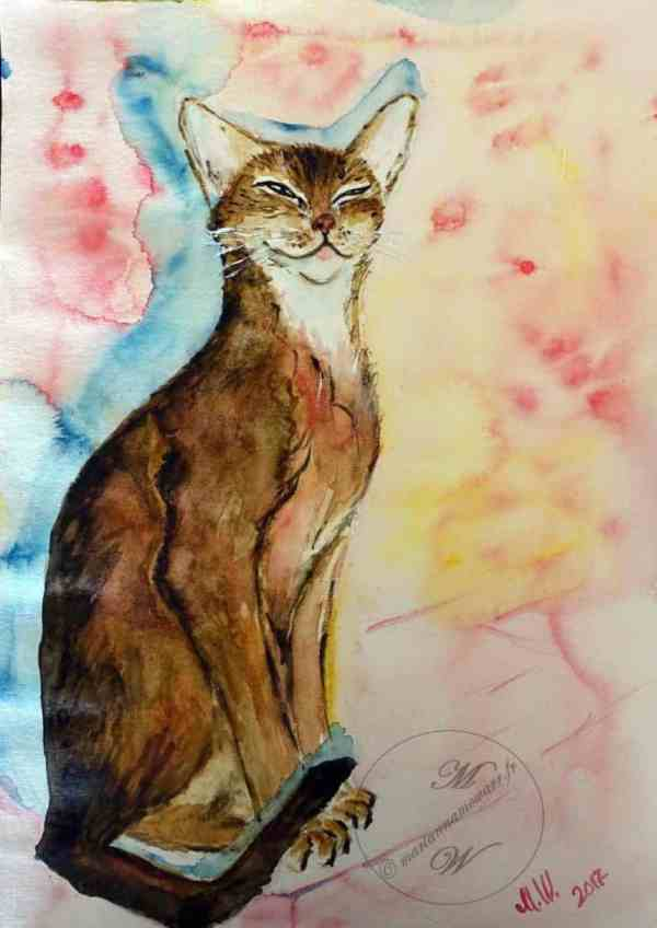 Shadow of Bastet, watercolor on paper by © MariAnna MO Warr