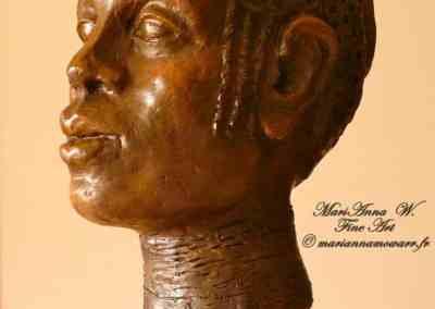 Massai woman, resin, bronze powder patina by © MariAnna MO Warr