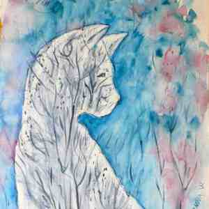 Winter Melancholy of White Cat, watercolor on paper by © MariAnna MO Warr