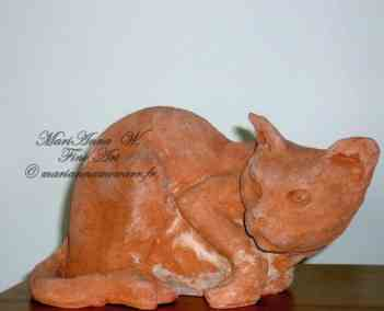 Cat, terracotta by © MariAnna MO Warr