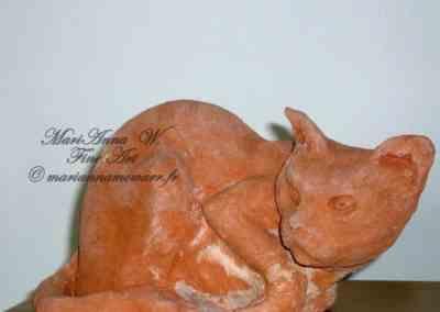 Cat, terracotta by © MariAnna MO Warr