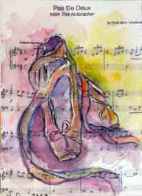 Pas de deux, Collection: Ballet, Music, watercolor, original greeting card by @ MariAnna MO Warr