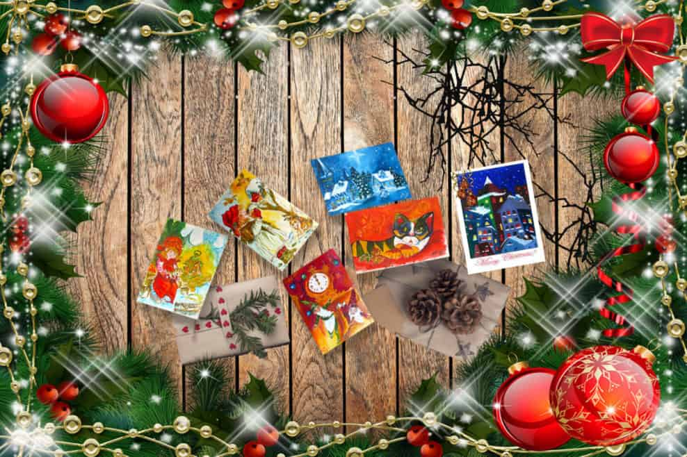 Original Watercolor Greeting Cards- Merry Christmas and Happy New Year- by © MariAnna MO Warr