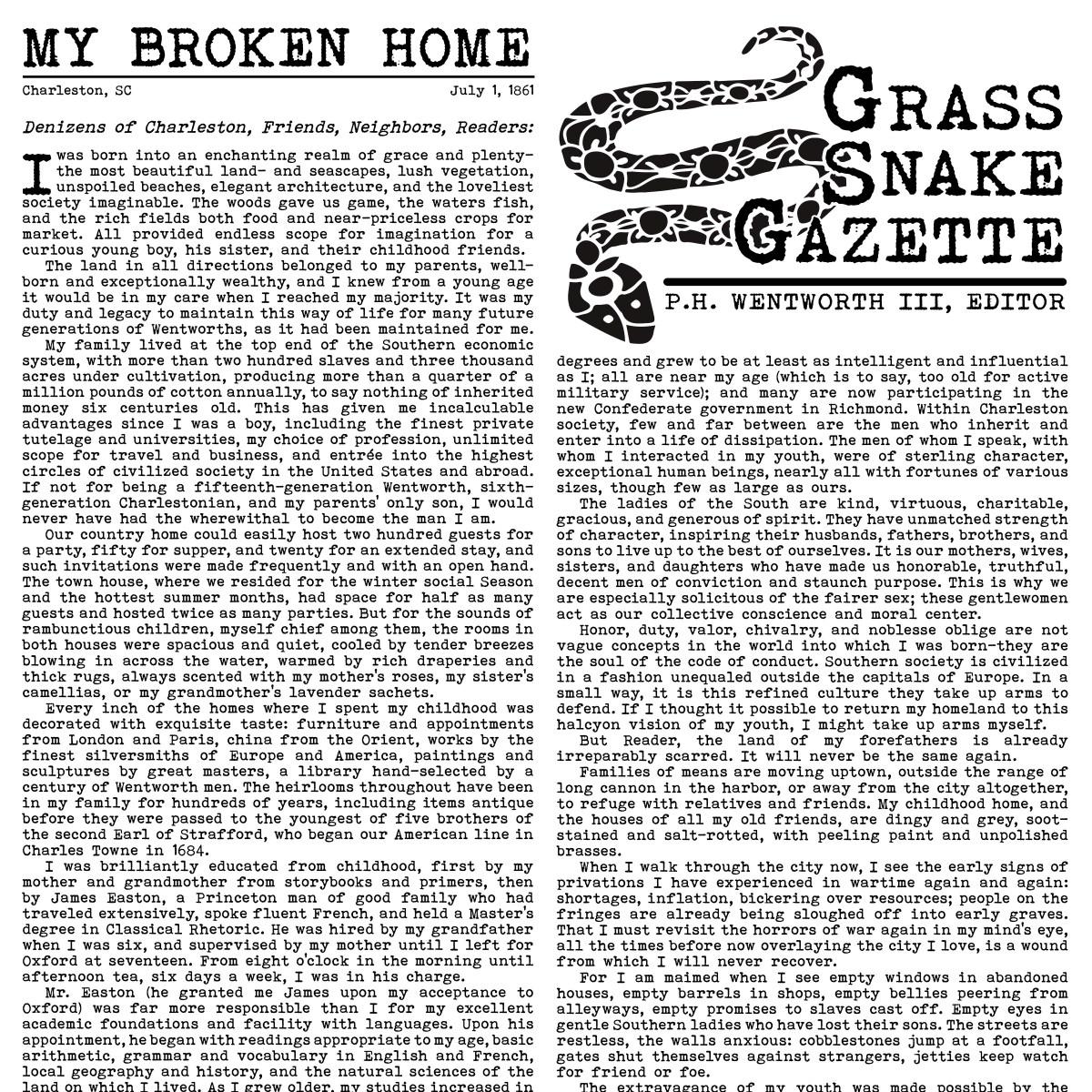 Editorial: The Grass Snake Gazette Broadside