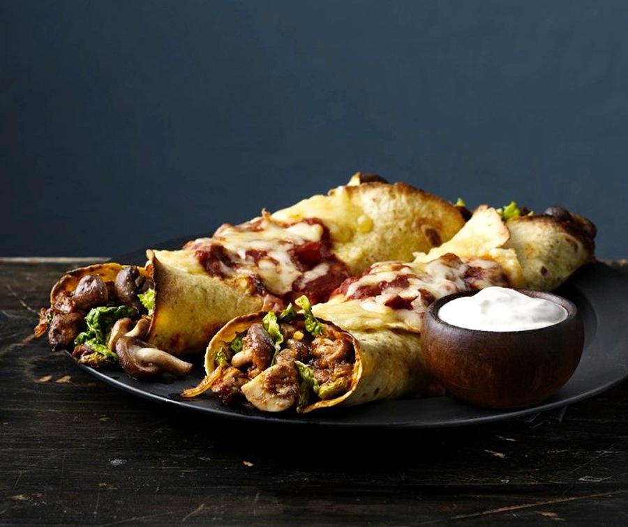 Oppskrift på vegetar-enchilada med sopp
