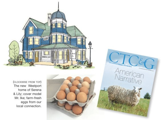 The new Westport home of Serena & Lily: cover model Mr. Ike; farm-fresh eggs from our local connection.