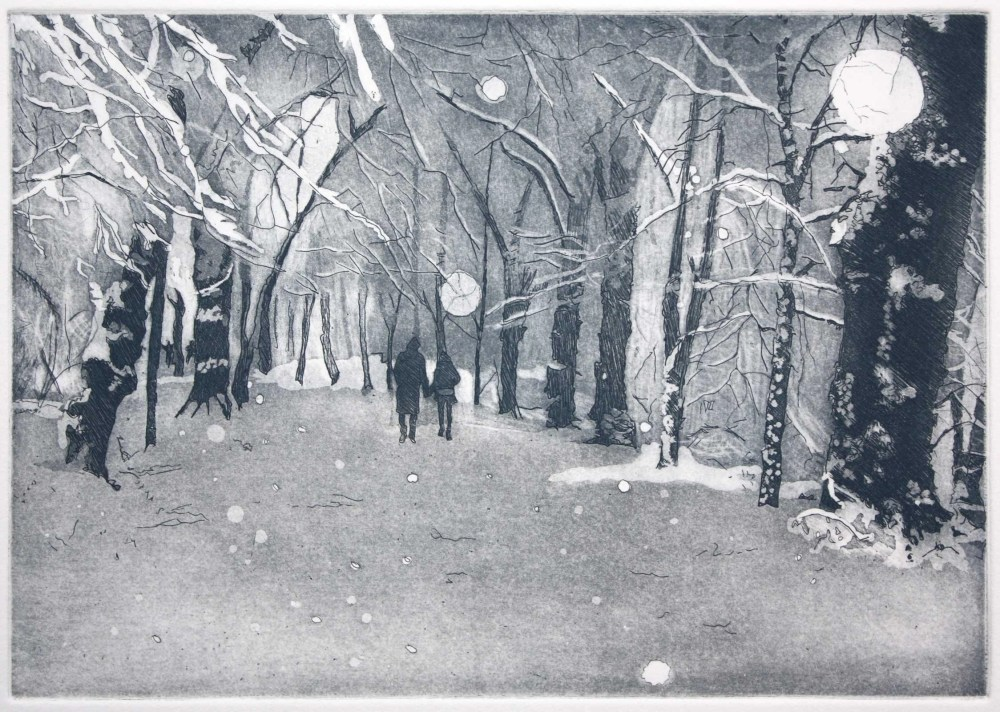 Lime Avenue Hampstead Heath in snow etching