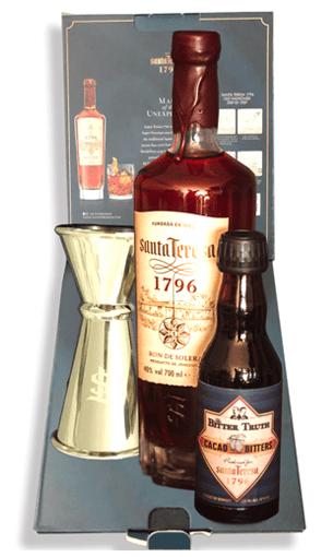 Santa Teresa 1796 + caja de regalo: The bitter Trouth + dosificador de coctelería profesional