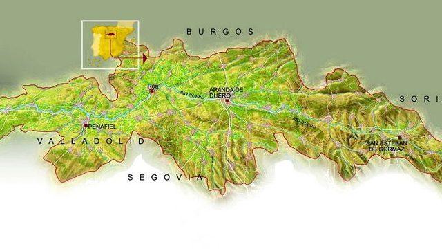 Mapa de la Ribera del duero: Municipios