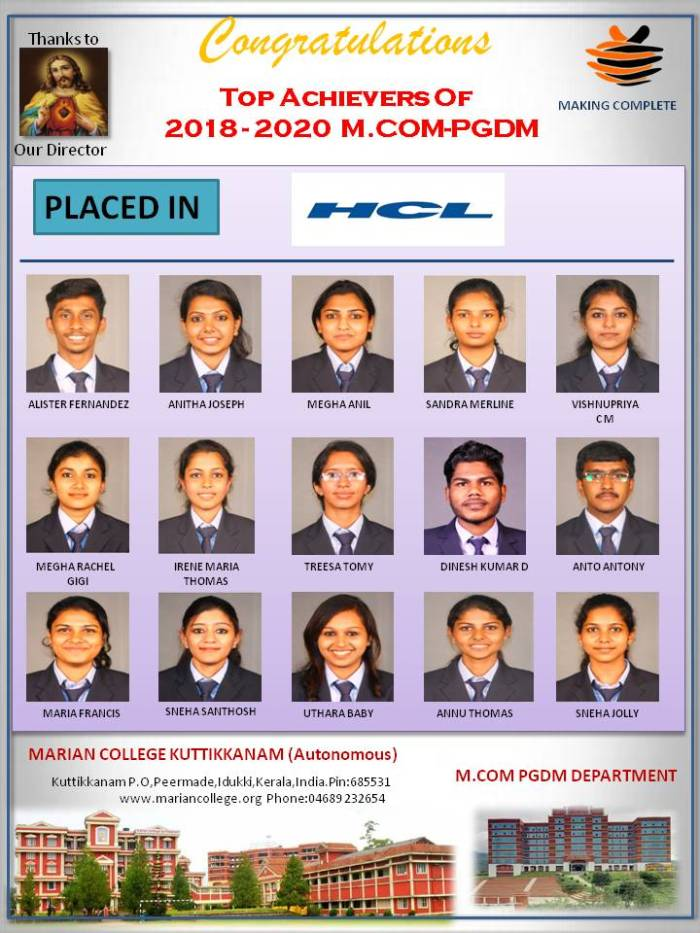 MCom PGDM students placed