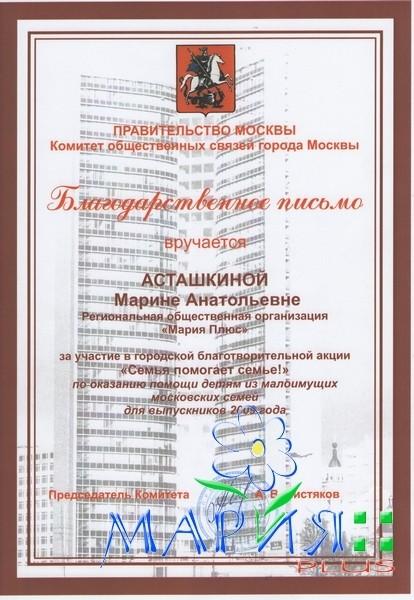 За участие в городской благотворительной акции «Семья помогает семье!»