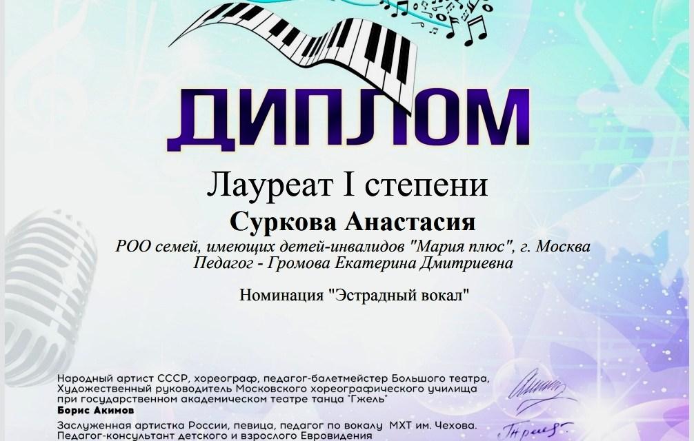 Диплом Лауреата I степени VI Международного Фестиваля- конкурса детского и юношеского творчества «Птица-Музыка»