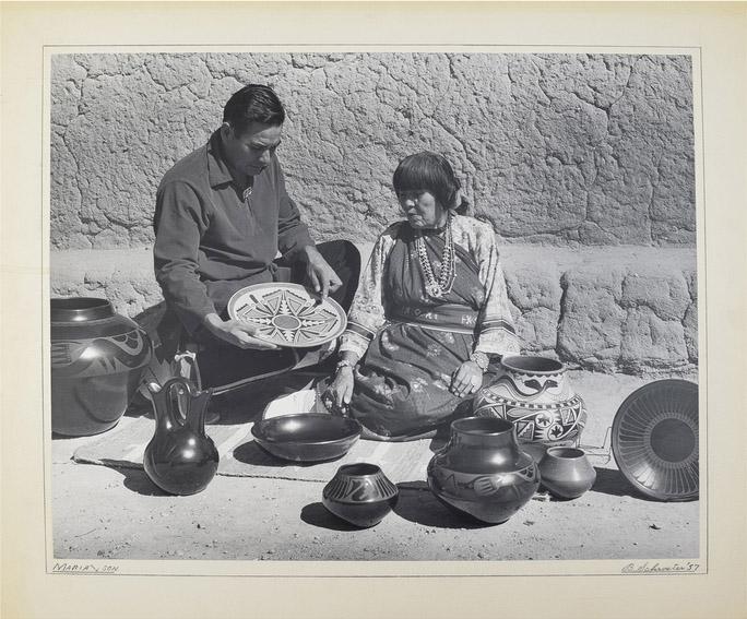 Maria Martinez by polychrome pottery by B. Schroeter
