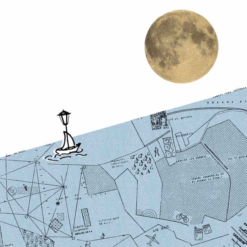 Ilustración collage para el cuento Saturno
