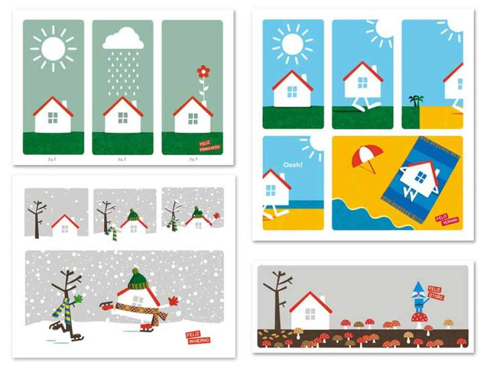 Primavera, verano, otoño e invierno. Postales