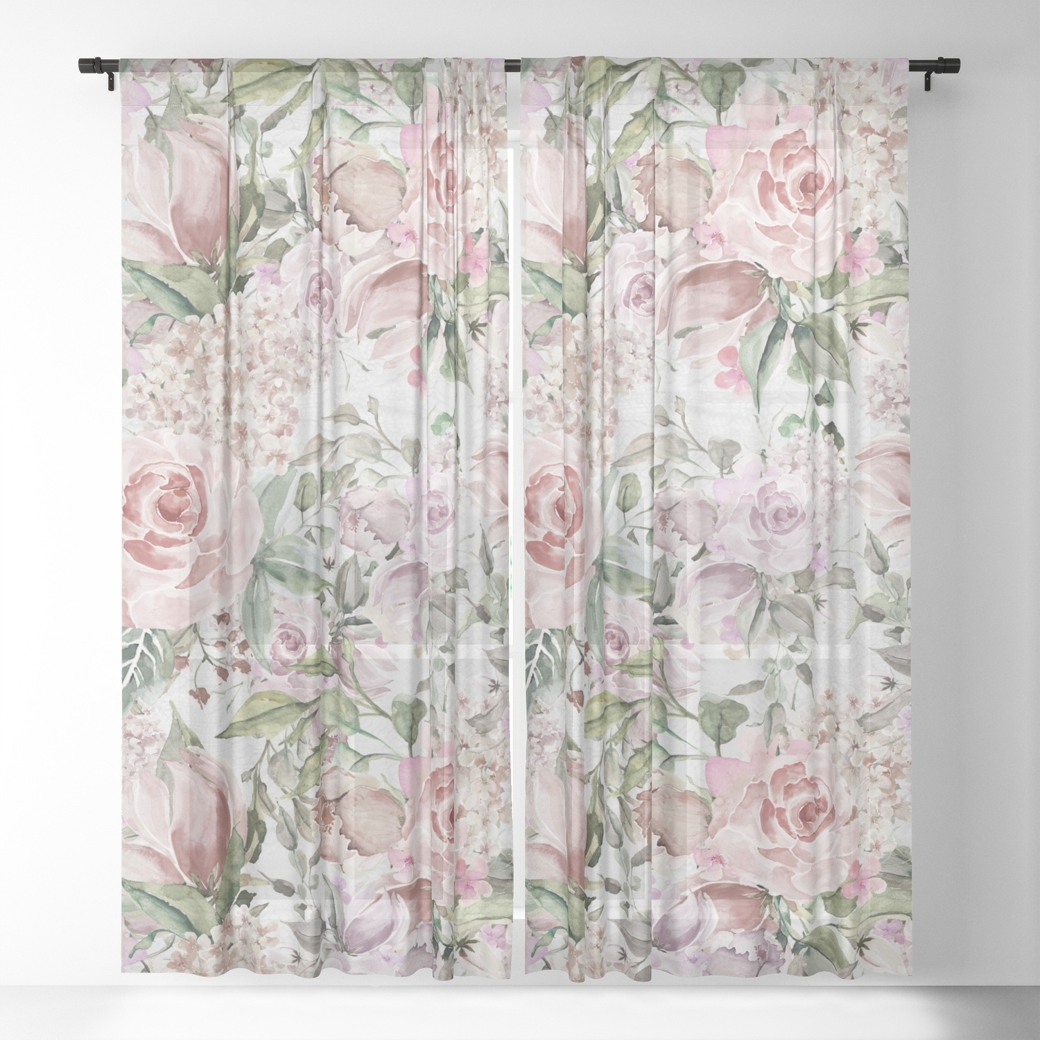 blush pink lilac white lace country floral sheer curtain throughout Five Ways To Dress Your Windows With Lace Curtains