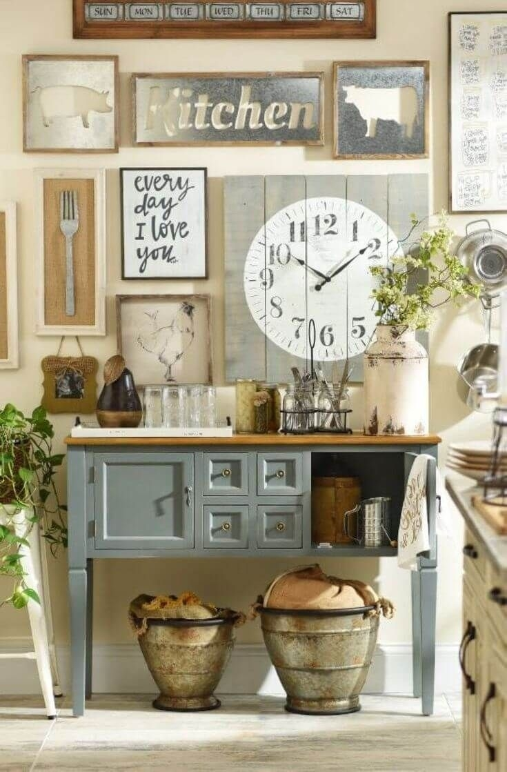 country cottage style kitchen decor idea with wall art | rustic and with regard to Country Wall Art