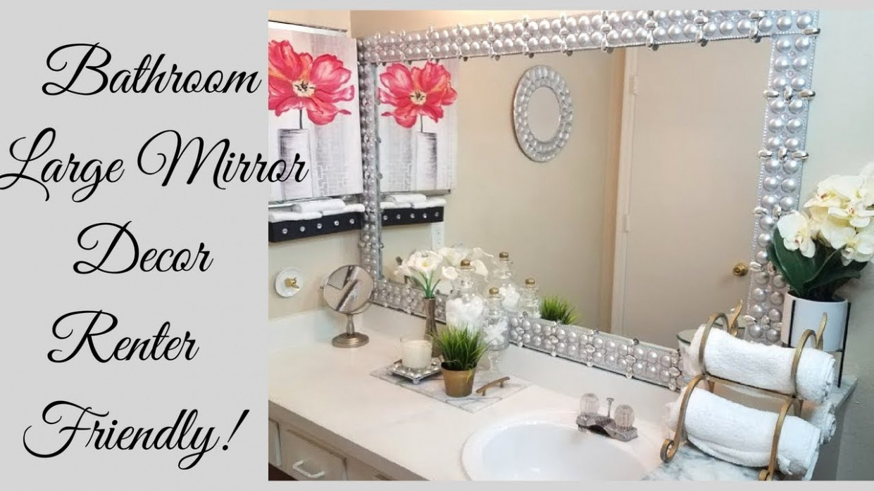 Diy Renter Friendly Large Bathroom Mirror Design! - YouTube