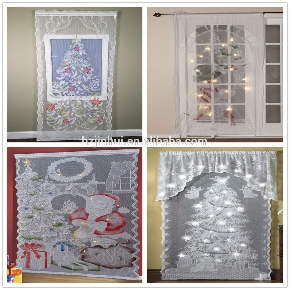 new led lighted holiday angels christmas tree lace window curtains pertaining to Five Ways To Dress Your Windows With Lace Curtains