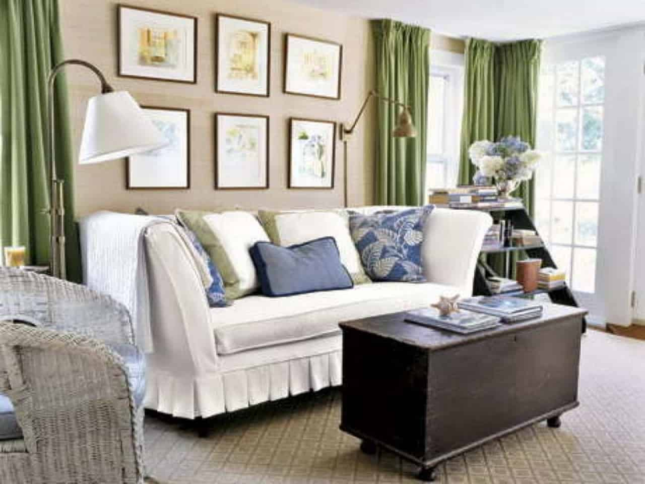 rooms decorating color schemes for living with green curtain room for Classic Country Furniture Design