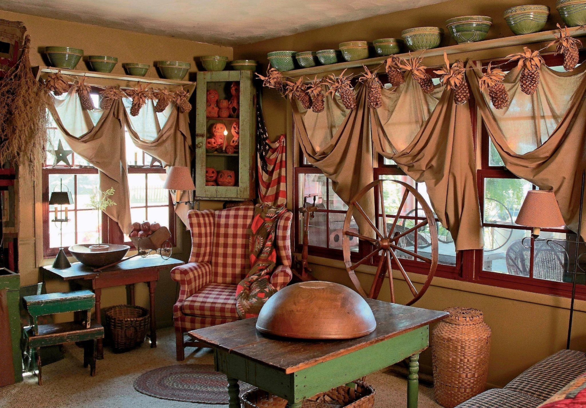 20 inspiring primitive home decor examples | drapery, window ideas with Primitive Curtains Decor